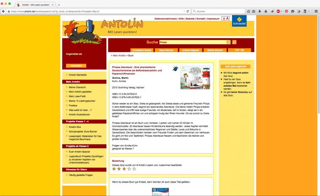 Pinipas Abenteuer auf Antolin.de